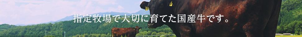 指定牧場で大切に育てた国産牛です。