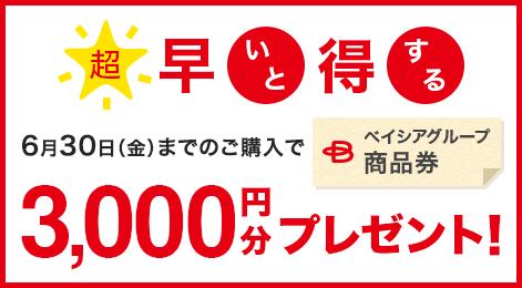 超 早いと得する6月30日(金)までのご購入でベイシアグループ商品券 3,000円分プレゼント!