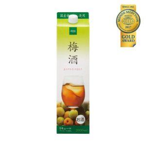 優秀品質金賞「梅酒パック2L(本体価格 648円)」 国産梅100%使用、すっきりした甘さのストレートタイプ梅酒です。ストレートやロックはもちろん、ソーダ割りもおすすめ。