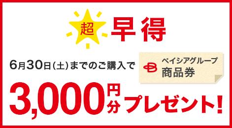 超 早得 6月30日(土)までのご購入でベイシアグループ商品券 3,000円分プレゼント!