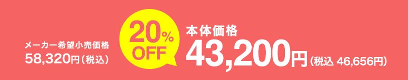本体価格 43,200円(税込 46,656円)