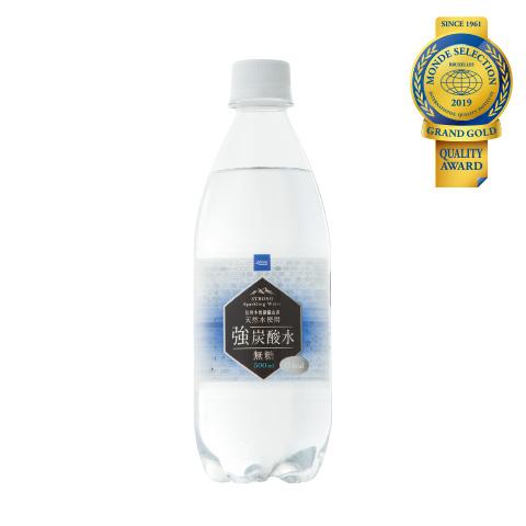 優秀品質最高金賞「強炭酸水 500ml(本体価格58円)」 広大で自然豊かな森林奥深く、信州木曽御嶽山系天然水を使用した強炭酸水。