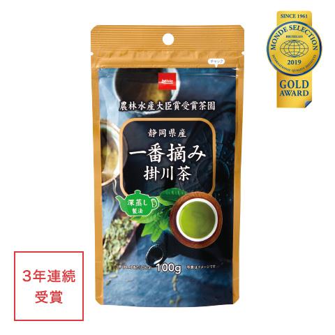 優秀品質金賞「一番摘み掛川茶(深蒸し製法)100g(本体価格698円)」 幾多の農林水産大臣賞を受賞する「東山茶業組合」の一番茶葉を100%使用。濃厚で深い味わい。