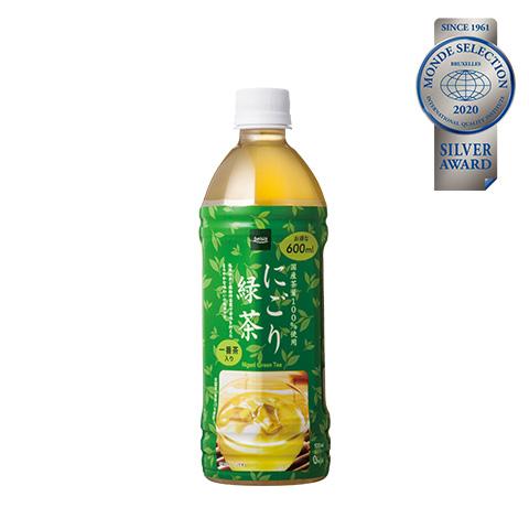 優秀品質銀賞「にごり緑茶 600ml(本体価格58円)」国産茶葉100%使用。低温抽出と微粉砕茶葉で苦味を抑えたまろやかな味わいの緑茶。
